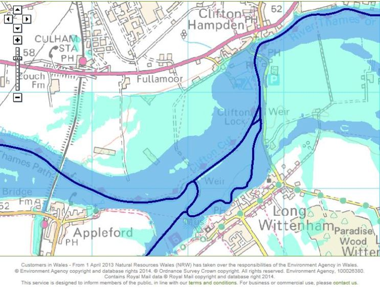 Areas at risk of flooding according to Environment Agency